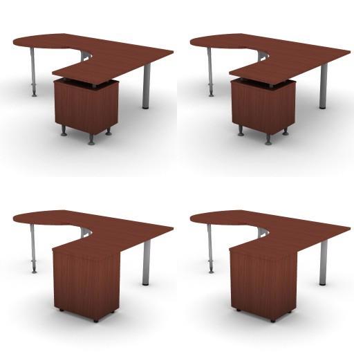 Cad 3D Free Model dvo A04-bull4-  11-compound-desks-slim-column-bull4