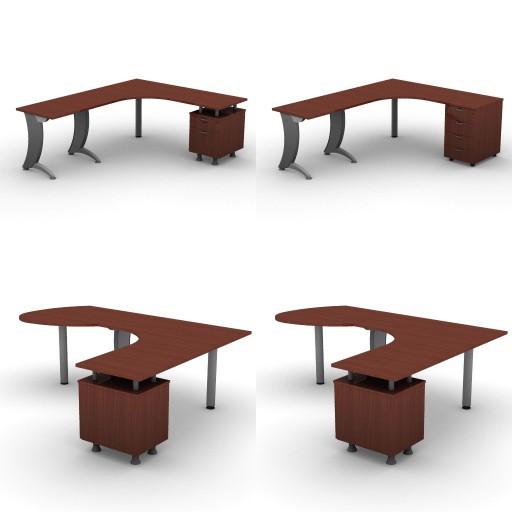 Cad 3D Free Model dvo A06-iks25  11-compound-desks-slim-column-iks25