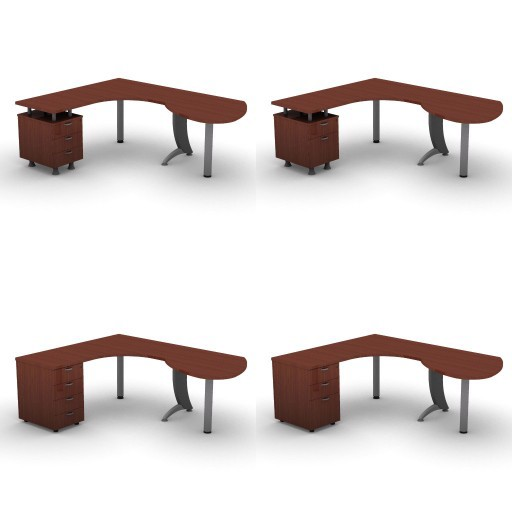 Cad 3D Free Model dvo A07-iks  11-compound-desks-slim-column-iks
