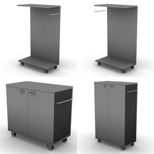 Cad 3D Free Model dvo A08-storage-units-tbqi  27b-unit_on_castors-metal-shelves