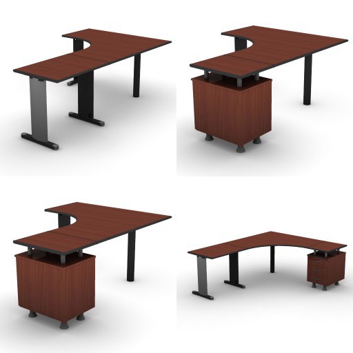 Cad 3D Free Model dvo B03-shock  11-compound-desks-slim-column-shock