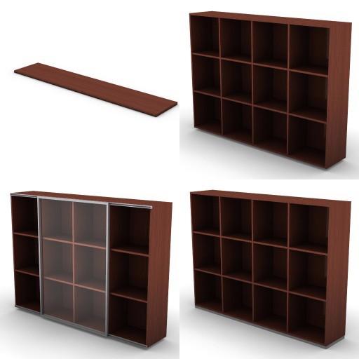 Cad 3D Free Model dvo F-dak  72-bookcases-dak