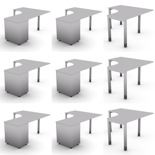 Cad 3D Free Model dvo Quattro-temporary  07-compound-desks-slim-column-quattro