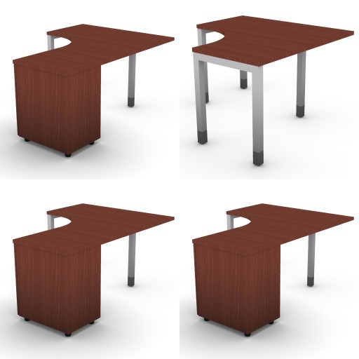 Cad 3D Free Model dvo Quattro30-temporary  08-compound-desks-slim-column-quattro30