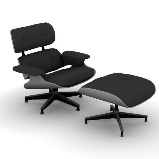 Cad 3D Free Model HermanMiller  hm_eames_lounge_ottoman