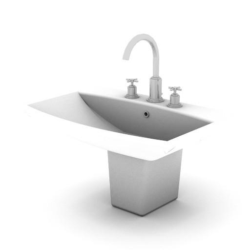Cad 3D Free Model idealstandard Sanitari  cantica_lavabo_semicol